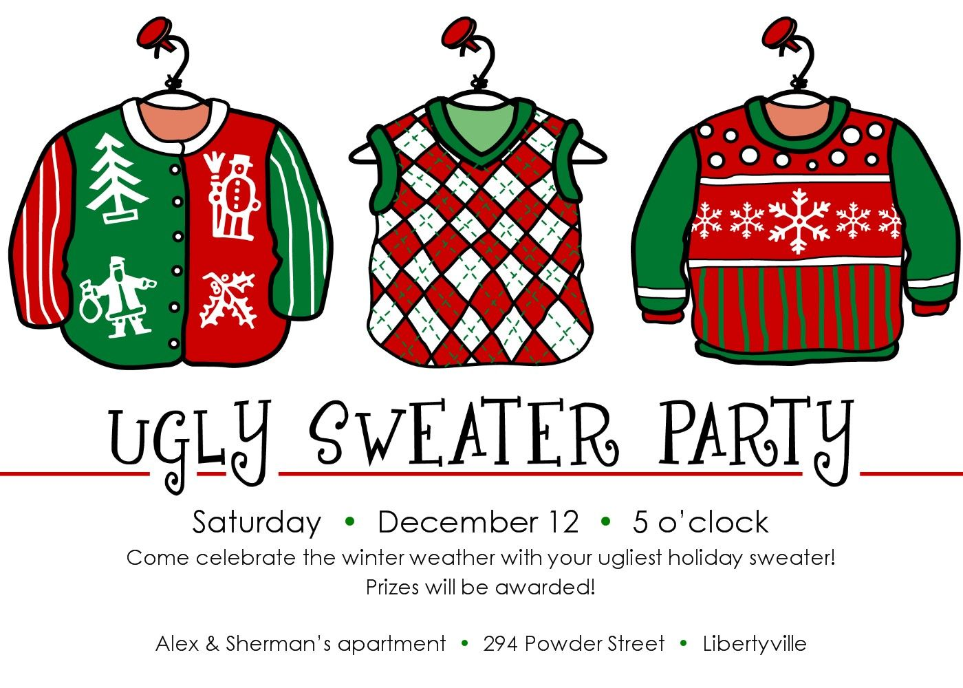 Ugliest Christmas Sweater Party Ideas Part - 25: Ugly Christmas Sweater Party Invitation