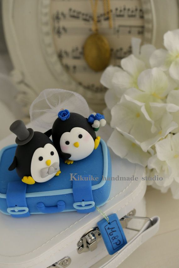 LOVE ANGELS Wedding Cake Topperlove Penguins by kikuike on Etsy