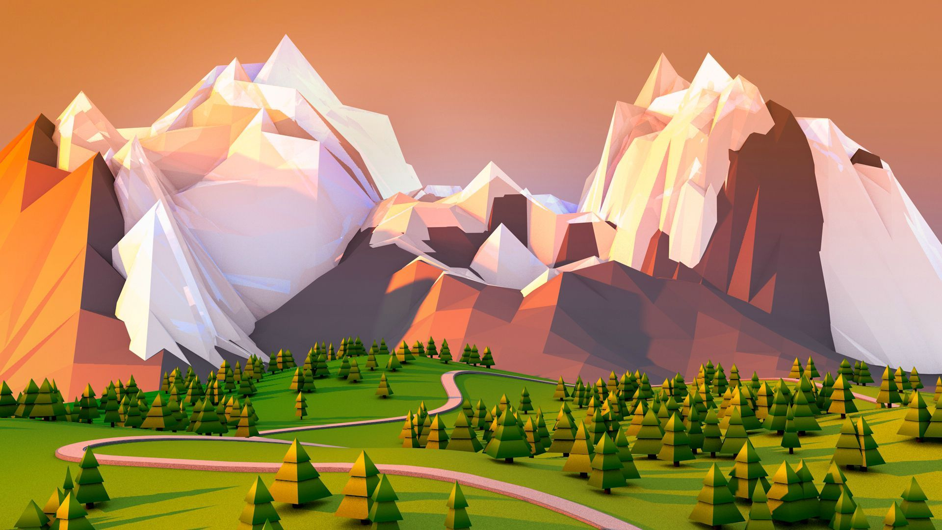 Low Poly Forest With Mountain Background Polygon Art Low Poly Art Art Wallpaper