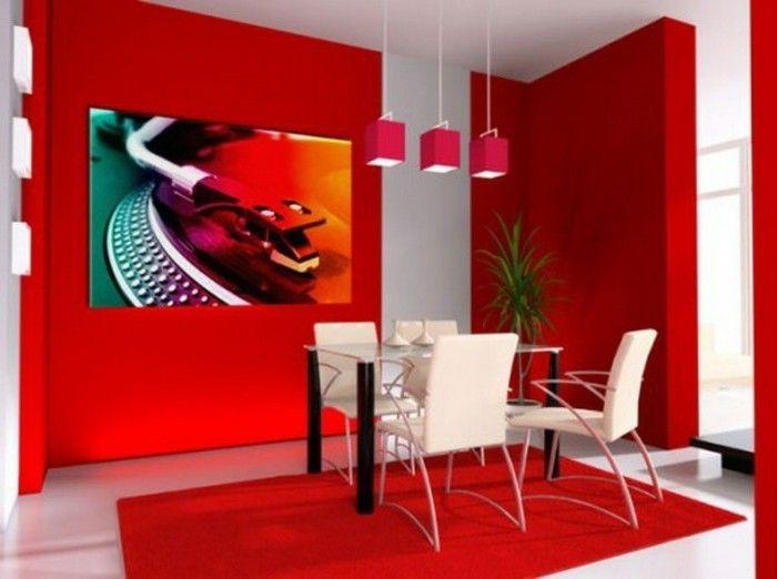 super tolle wandfarben vorschläge rotes esszimmer gestalten - esszimmer mit farbe gestalten