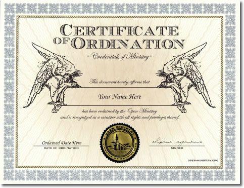 Ordination Credential Misc Pinterest Religion and Politics - new ordination certificates printable
