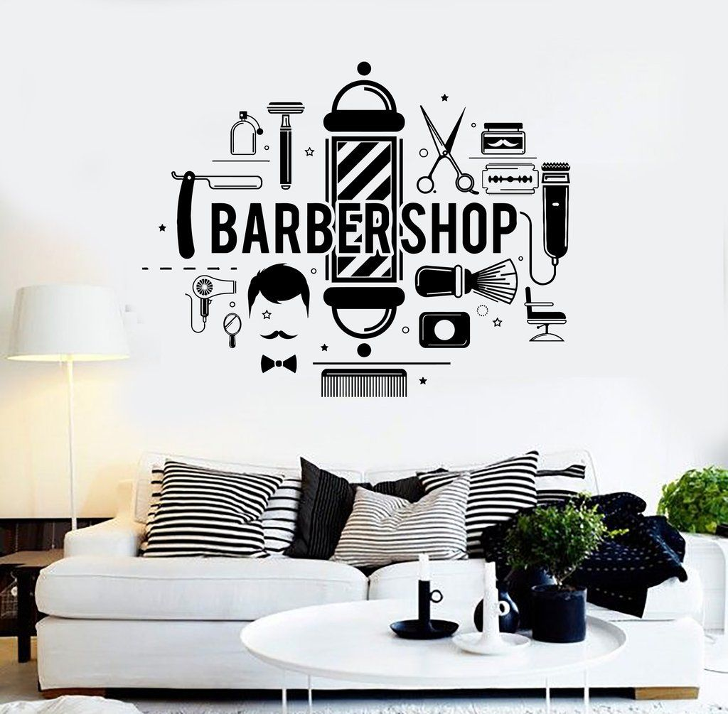 Vinyl wall decal barbershop hair salon stylist barber stickers unique gift ig4296 in 2019 - Stickers salon design ...