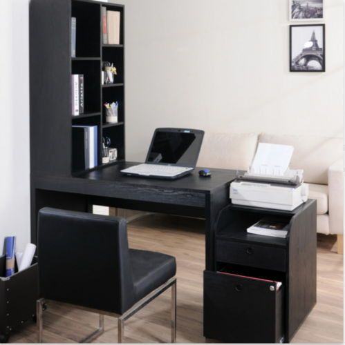 Two Piece Modular Computer Desk With Bookcase Home Office Furniture Black  Finish