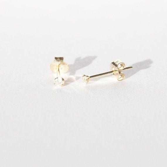 7ee802a89 9ct gold - tiny diamond studs - diamonds - stud earrings - gold ...