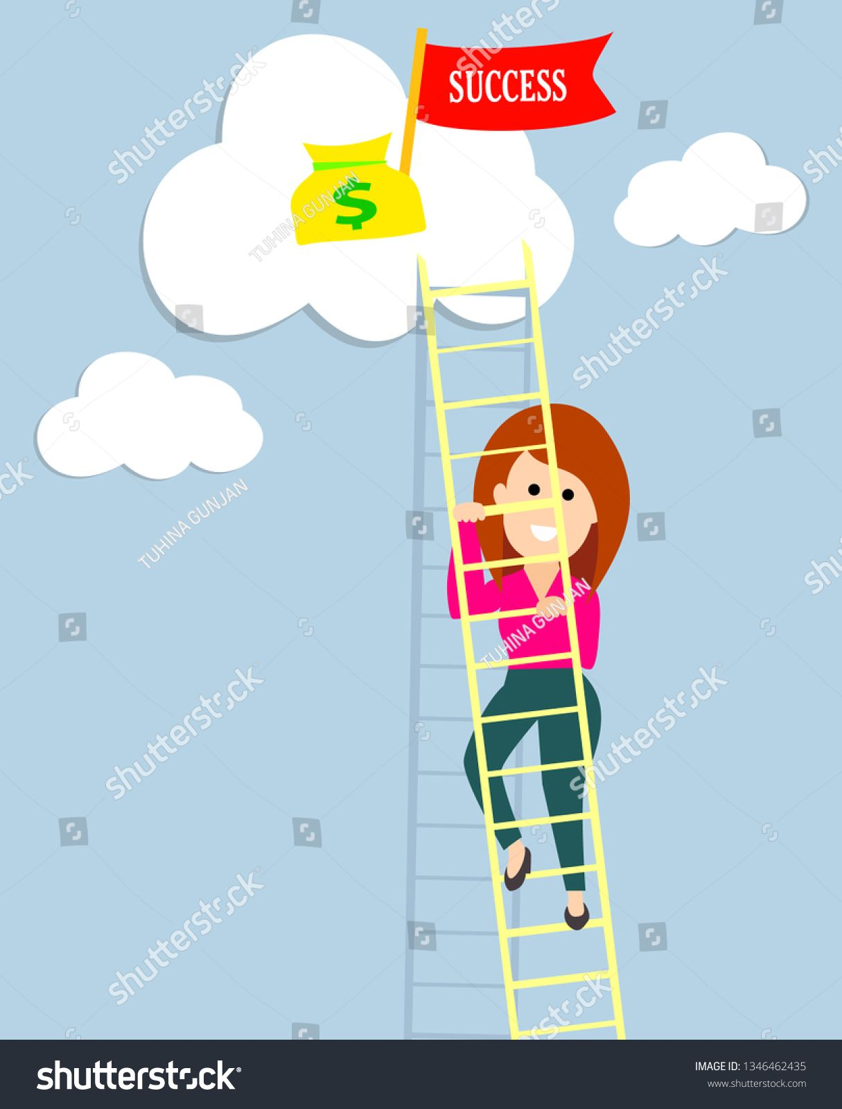 business woman climbing up success ladder ambitious woman business women success vector illustration success ladder ambitious woman