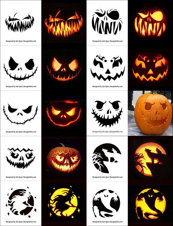 Free Scary Halloween Pumpkin Carving Patterns Stencils Ideas