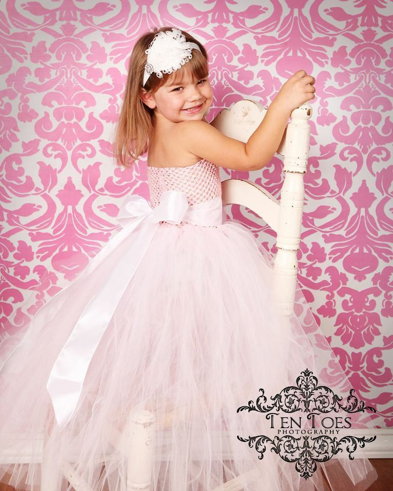 Newborn Size 12 Light Pink Flower Girl Tutu by krystalhylton
