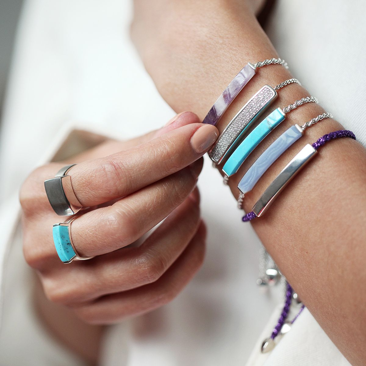 Rose Gold Linear Stone Bracelet Blue Lace Agate Monica Vinader y2l1CuD1mD