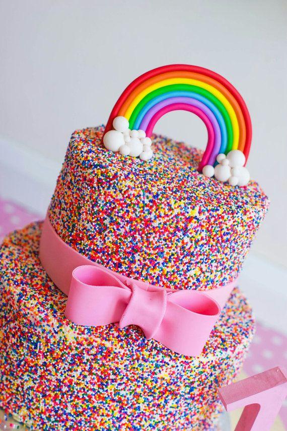 Regenbogen Cake Topper von HugsandSparkles auf Etsy #bdayideas
