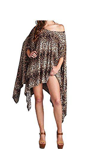 L04BABY Women Cape Asymmetrical Bat Sleeve Leopard Off-shoulder Sexy Mini Dress L04BABY http://www.amazon.com/dp/B01609FSCE/ref=cm_sw_r_pi_dp_FYquwb09RP0XV