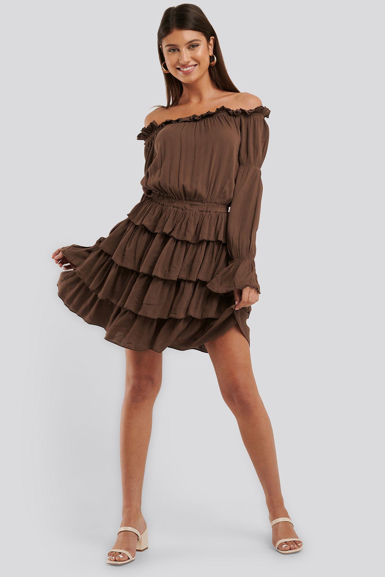 NA-KD OFF SHOULDER LAYER FRILL DRESS - BROWN. #na-kd #cloth in