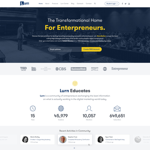 Big Payout New Home Page Brand Site For Entrepreneur Training Company Lurn Is A Transformation Home For Entrepreneurs W Train Companies Design Model Coaching