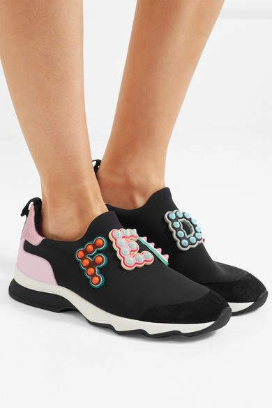 Logo-embellished Leather And Suede-trimmed Neoprene Sneakers - Black Fendi PGXi5ZA9