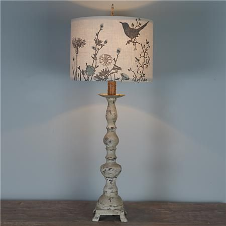 Distressed Baluster Table Lamp with Applique Garden Shade
