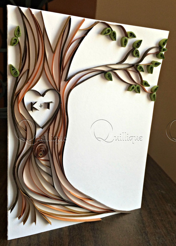 Paper Quilled Card Tree With Carved Initials Couple S Etsy Quilling Cards Cards Handmade 1st Anniversary Cards