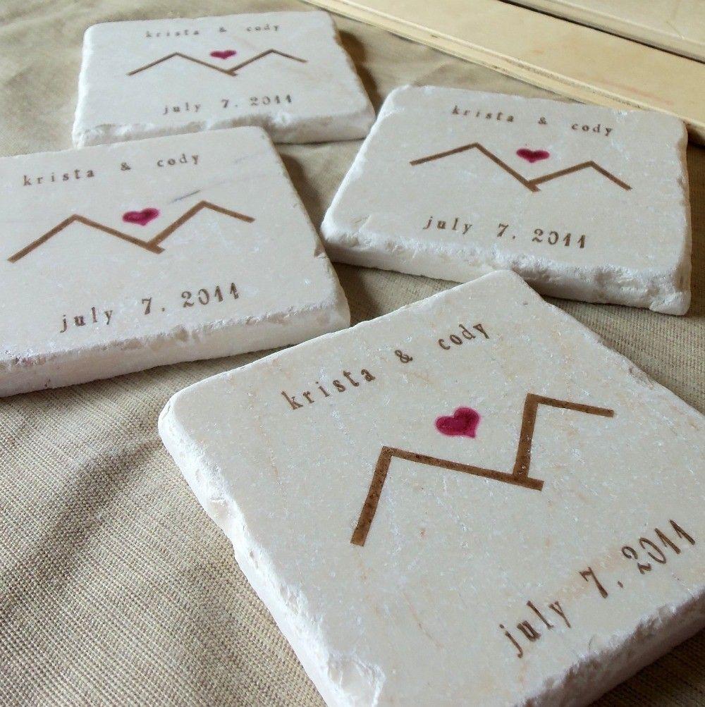 mountain love wedding favor coasters
