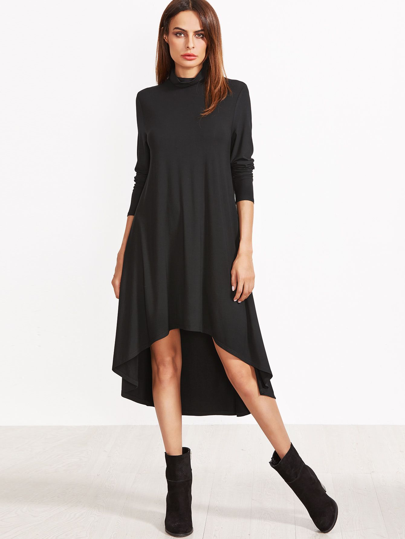 3c0e07bb2341 Shop Cowl Neck Dip Hem Swing Dress online. SheIn offers Cowl Neck Dip Hem  Swing Dress & more to fit your fashionable needs.