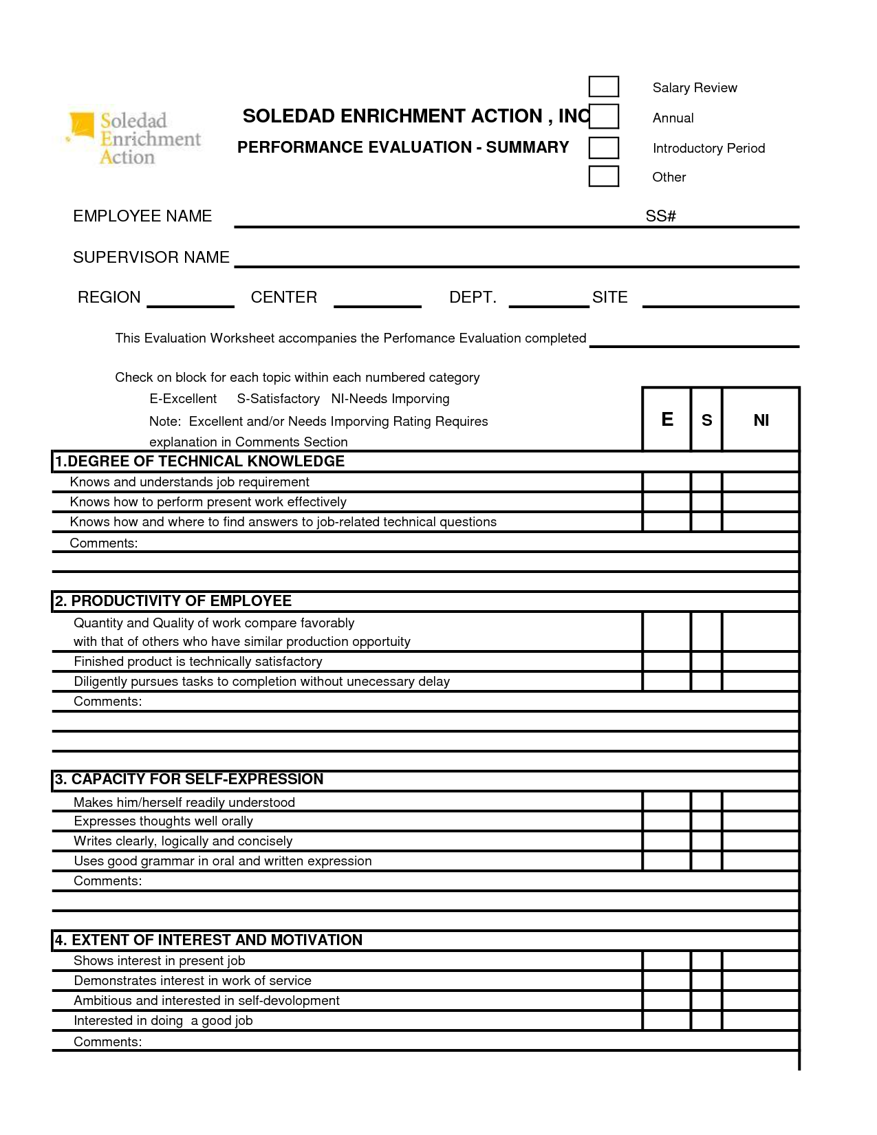 free 360 performance appraisal form Google Search – Self Performance Evaluation