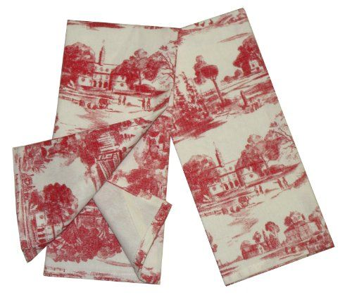 Toile French Country Dish Towel Set Of 2 Red India Overseas Http