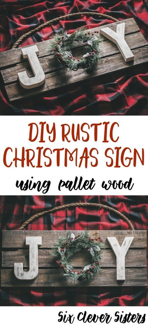 DIY Rustic Christmas Joy Sign Using Pallet Wood #diychristmasdecor