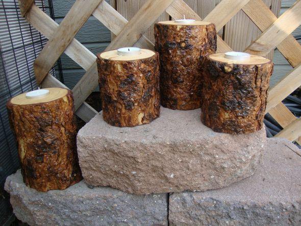 RUSTIC/ REAL WOOD DIY TEA LIGHT CANDLE HOLDER