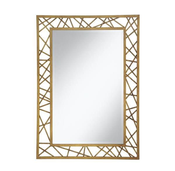 Contemporary Geometric Rectangle Frame Gold Metal Mirror
