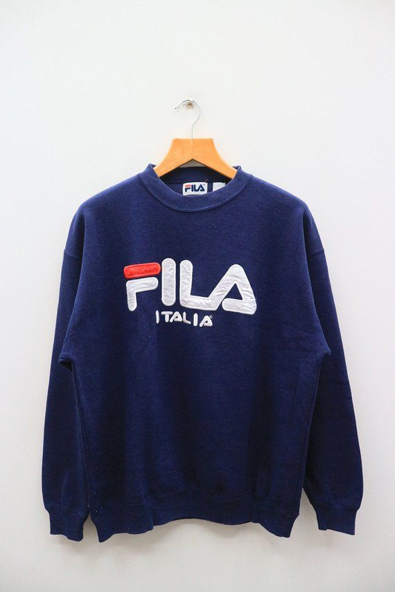 531d227de65fa Vintage 90s FILA Italia Big Spell Big Logo Sportswear Blue Pullover ...