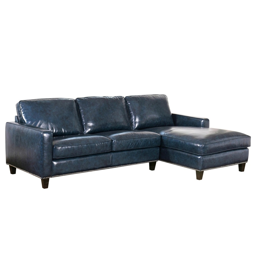 Groovy Lincoln Top Grain Leather Sectional Blue Abbyson Living Gmtry Best Dining Table And Chair Ideas Images Gmtryco