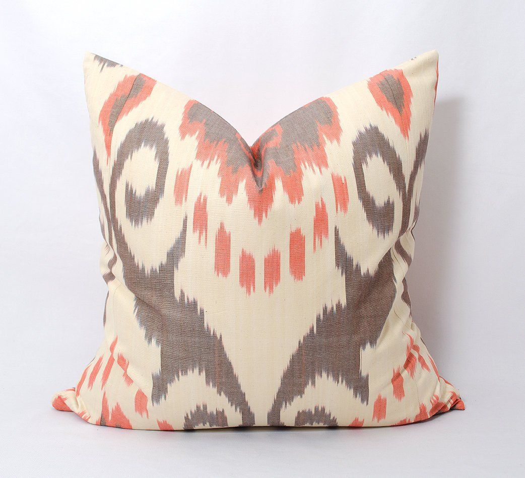 Brown orange ikat pillow cover sofa pillow couch cushion brown