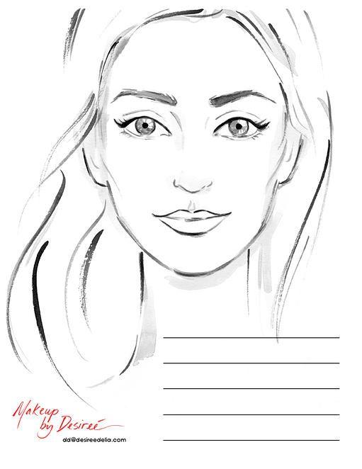 DESIREE DELIA MAKEUP ARTIST FACE CHARTS Hair \ Makeup - blank t chart