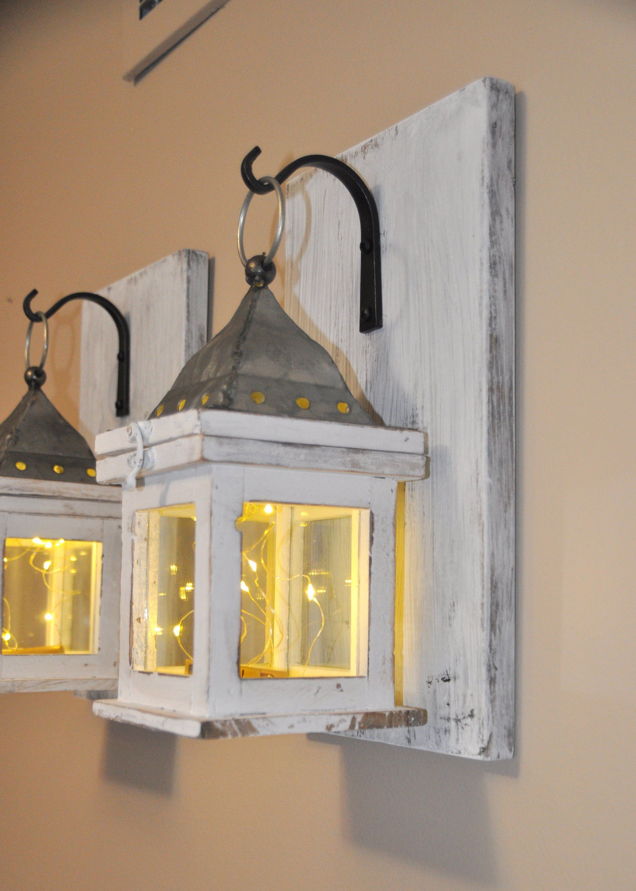 Rustic home decor farmhouse decor hanging lantern sconce white