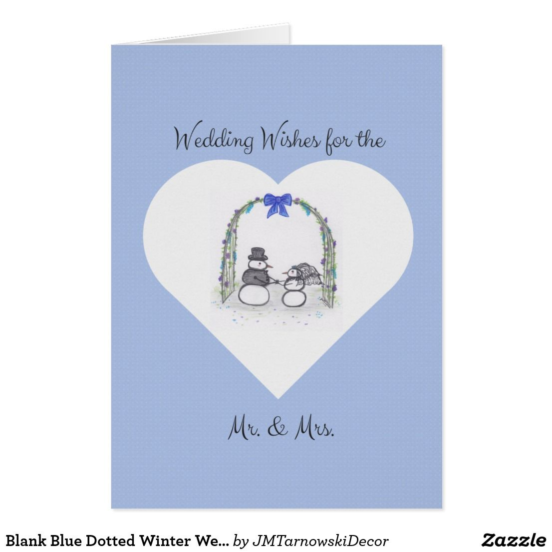 Blank Blue Dotted Winter Wedding Greeting Card Greeting Cards