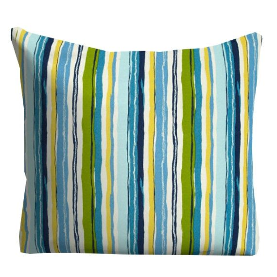 Blue Outdoor Pillows, Decorative Striped Outdoor Pillows,Patio Decor,  Outdoor Throw Pillows,