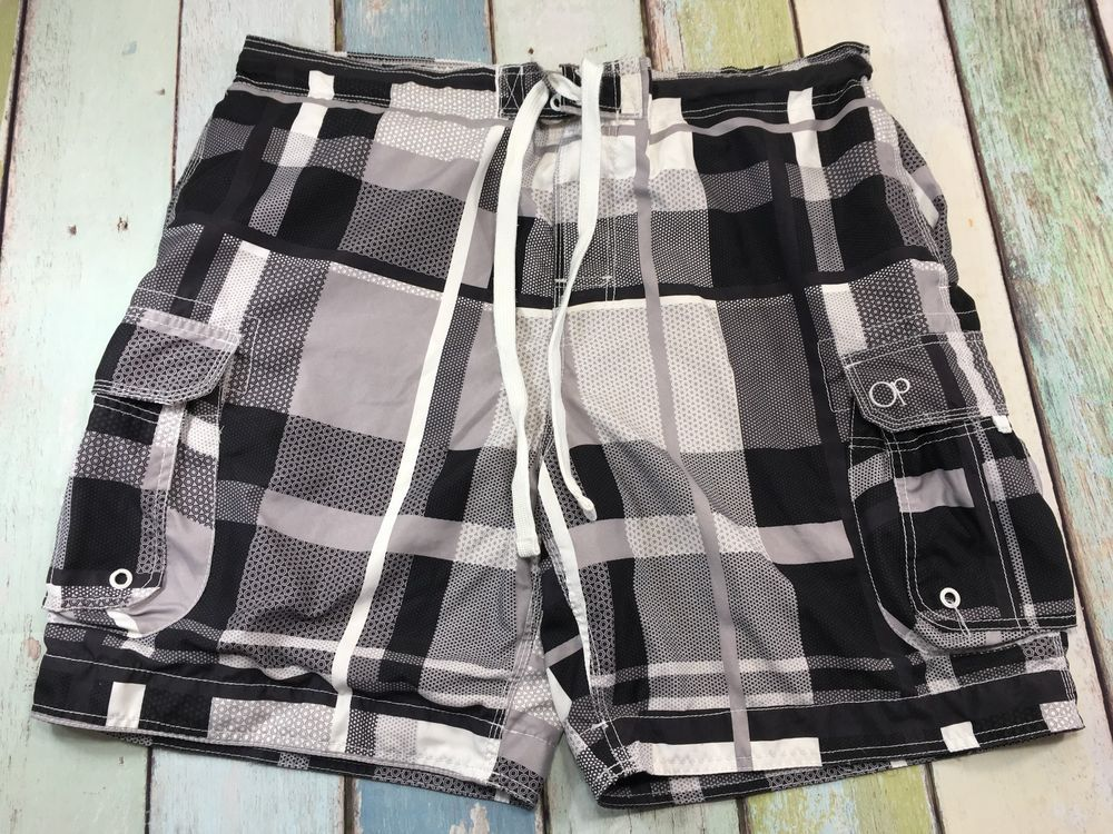 505286310d OP Ocean Pacific XL 40/42 BLACK/GRAY Plaid Mesh Lined Cargo Surf Swim Trunks  #S1 #fashion #clothing #shoes #accessories #mensclothing #swimwear (ebay  link)