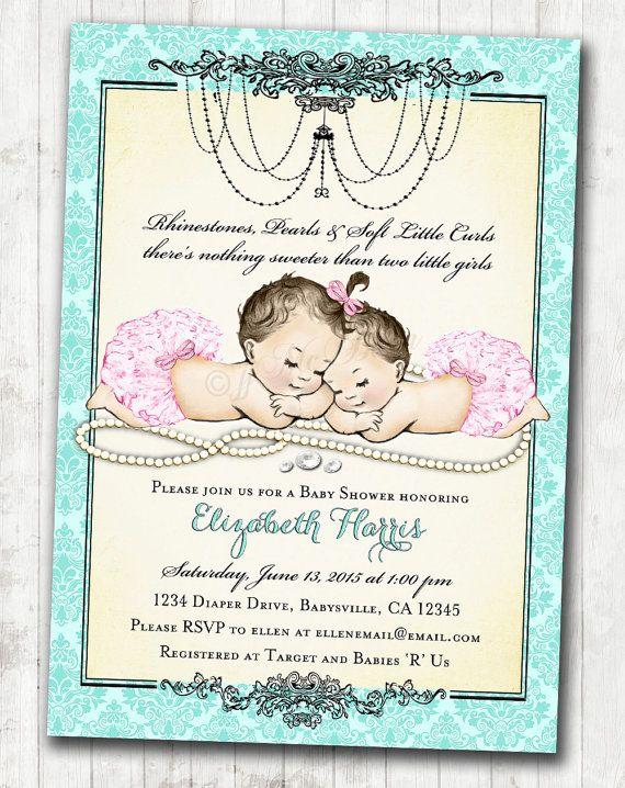 Twin girls baby shower invitation for baby girls pink aqua vintage twin girls baby shower invitation for baby girls pink aqua vintage antique french baby shower diy printable filmwisefo