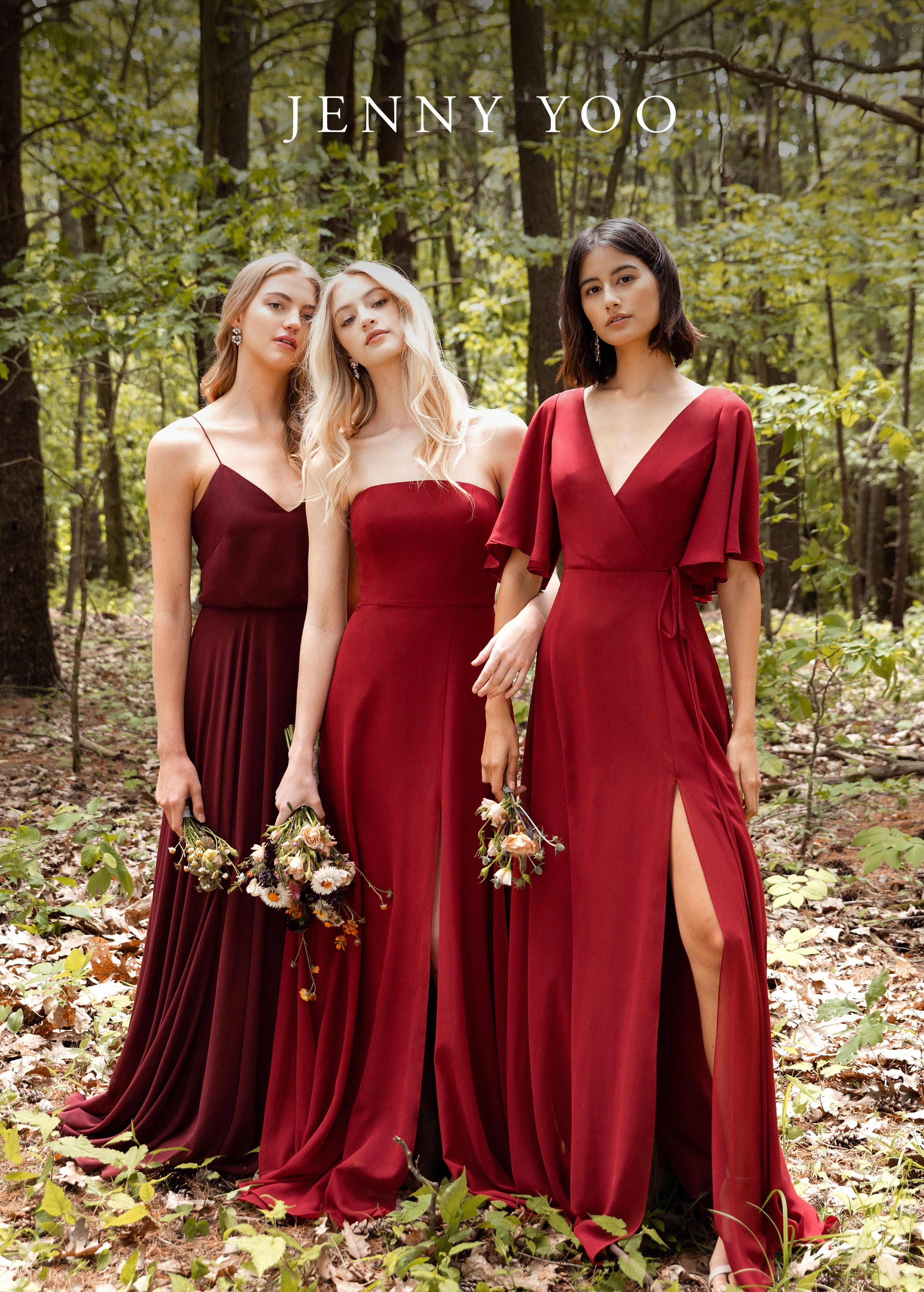 Burgundy Fall Bridesmaids Dresses Bridesmaid Dresses Boho Bridesmaid Dresses Red Long Fall Bridesmaid Dresses