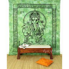 QUEEN GREEN ELEPHANT INDIAN MANDALA GANESHA TAPESTRY WALL HANGING Picnic Boho