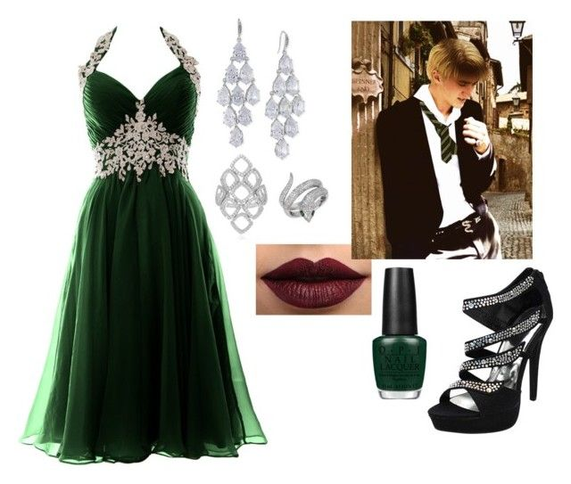 """""""yule ball with draco malfoy"""" by hannahmgore on Polyvore featuring OPI, Carolee, Effy Jewelry, LASplash, harrypotter, imagine, tomfelton, fanfiction and DracoMalfoy"""