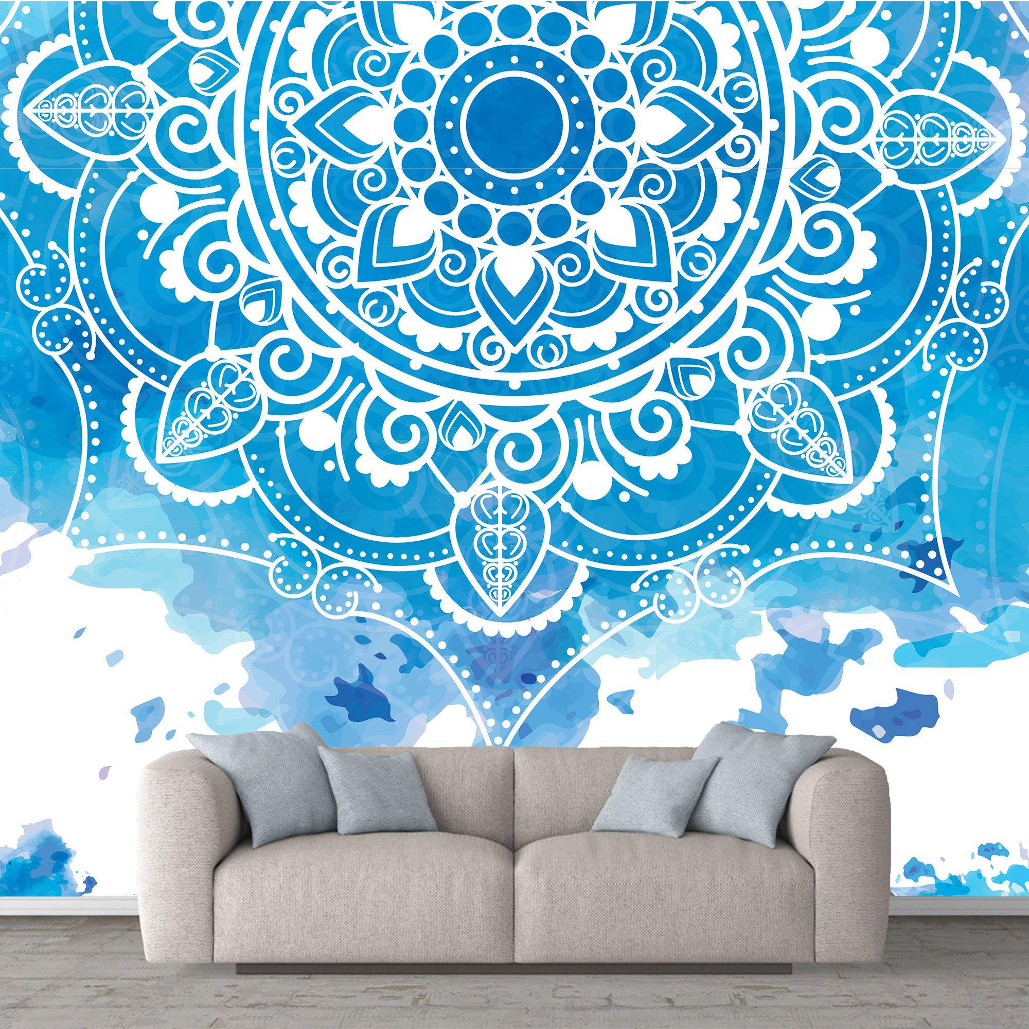 Mandala Removable Wallpaper Personalize Print Watercolour Etsy Mandala Wallpaper Wallpaper Removable Wallpaper