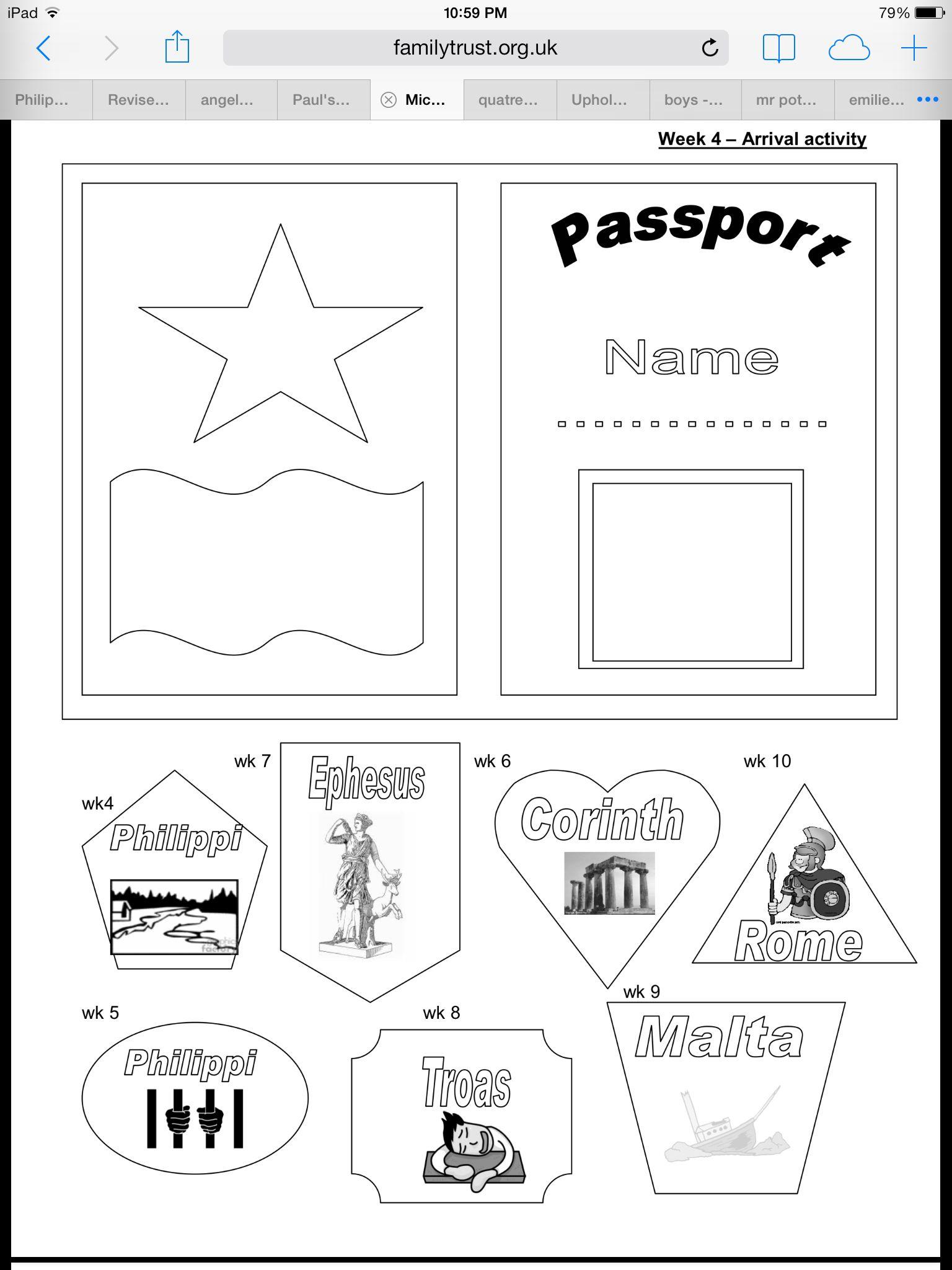 Passport for Paul's journey | BIBLE CLASS MATERIALS/IDEAS ...