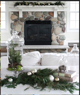 Love The White Mantel Over The River Rock Fireplace Very Rustic But Modern Christmas Decorations Living Room Christmas Living Rooms River Rock Fireplaces