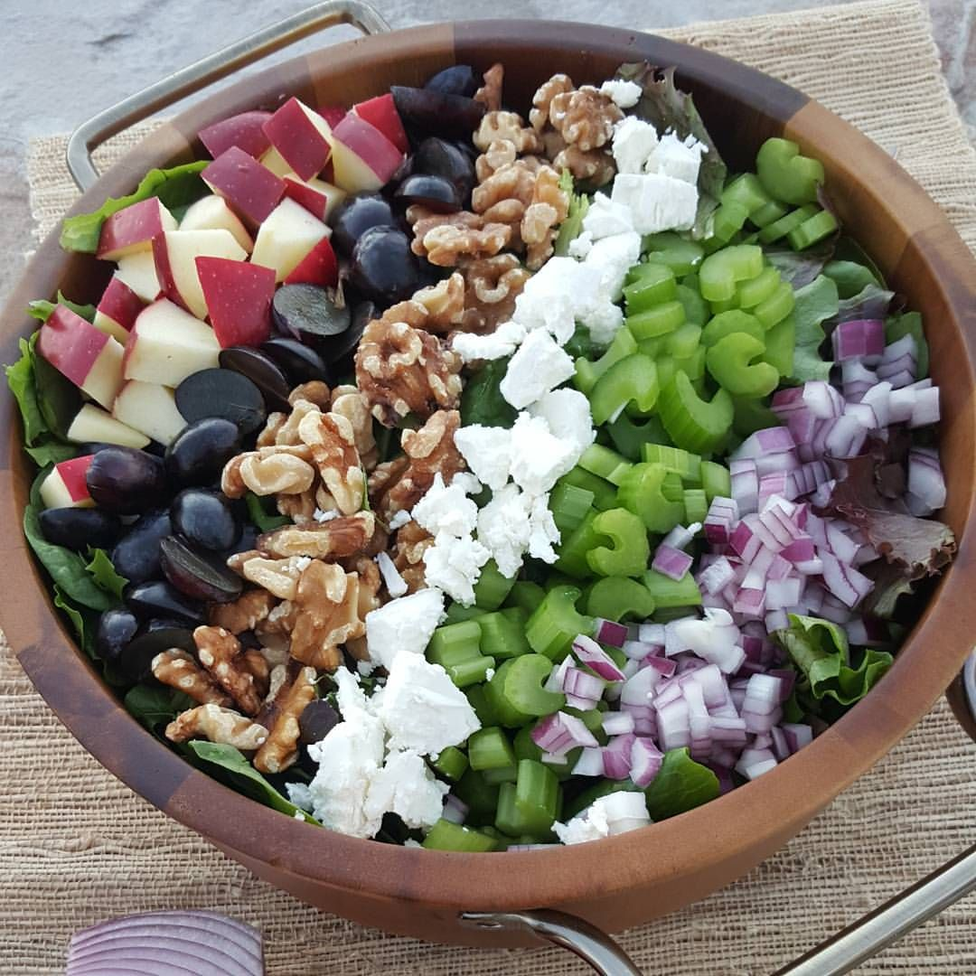 Apple Walnut Salad is part of Apple walnut salad - tangy apple, cubed 1 c  red seedless grapes, sliced in    applewalnutsalad creativecleansalads
