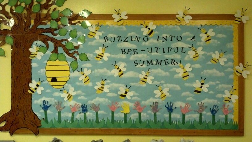 Summer Time Bee Themed Bulletin Board Idea We Used Handprint Flowers And Footprint Bees Decorate