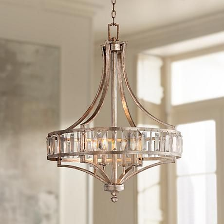 Soft silver 4 light 24 wide crystal chandelier pinterest crystal clear glass rods glisten against the silver leaf finish of this transitional chandelier aloadofball Choice Image