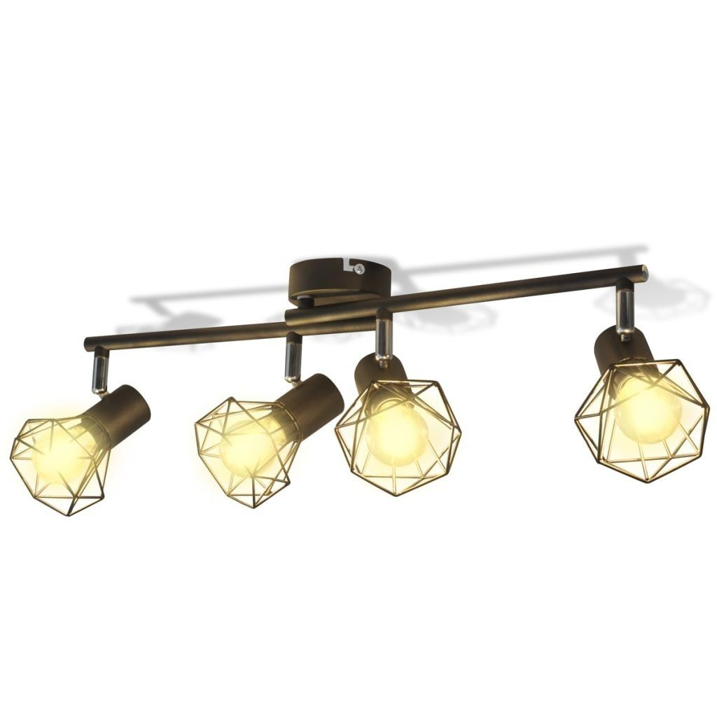 Sort Spotlight Trådramme I Industriell Stil Med 4 Led Lys Denne Vintage Spotlight Med Geometriske Skjermer I Metalltråd Og Sort Taklampa Spotlights Glödlampa