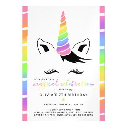 Pretty pastel unicorn birthday party magnetic invitation birthday pretty pastel unicorn birthday party magnetic card birthday cards invitations party diy personalize customize celebration filmwisefo