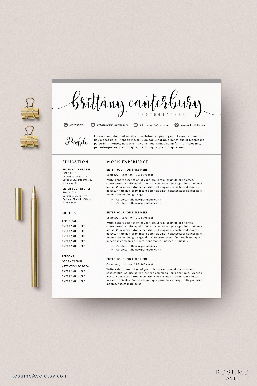 Creative Sorority Resume Template With Calligraphy Name Etsy In 2021 Resume Template Creative Resume Templates Teacher Resume Template