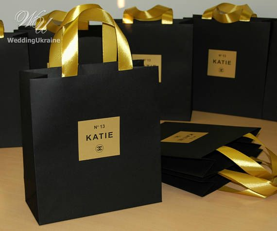 Black Gold Chanel Theme Birthday Gift Bags With Satin Ribbon 40th Favors