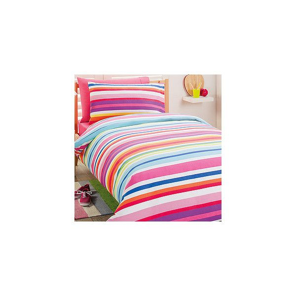 Rainbow Stripe Quilt Cover Set ($18) ❤ liked on Polyvore featuring home, bed & bath, bedding, quilts, stripe bedding, rainbow stripe bedding, rainbow bedding and striped bedding