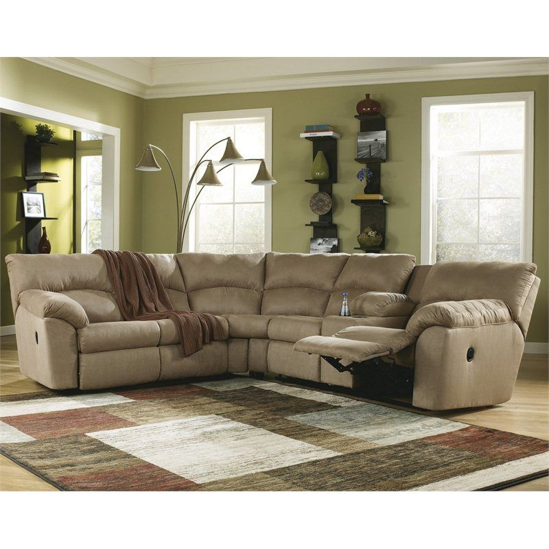 Signature Design By Ashley Furniture Microfiber Reclining Sofa Sectional In Mocha